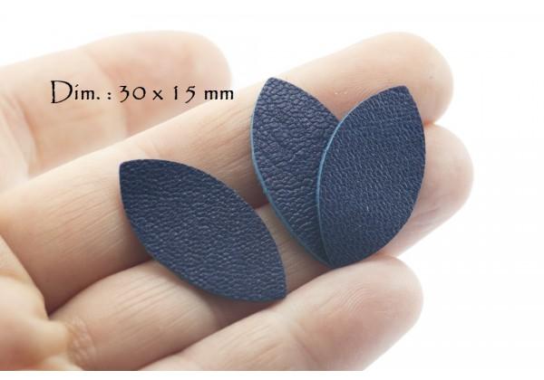 Feuille, Pétale de cuir Bleu Roi - Dim. 30 x 15 mm - Lot de 6