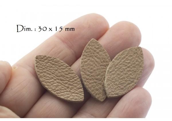 Feuille, Pétale de cuir Cappucino - Dim. 30 x 15 mm - Lot de 6