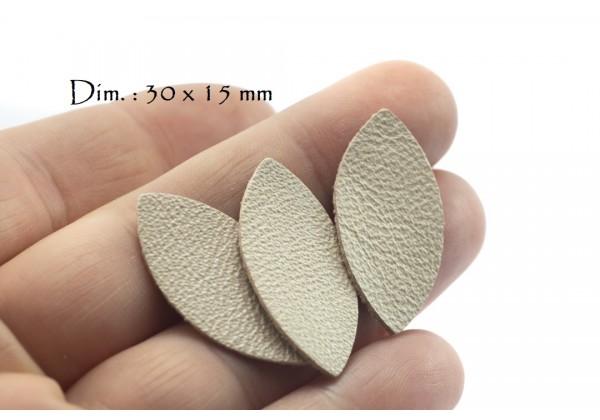 Feuille, Pétale de cuir Ivoire Nacré - Dim. 30 x 15 mm - Lot de 6