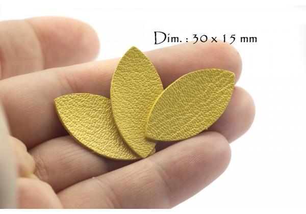 Feuille, Pétale de cuir Jaune Nacré - Dim. 30 x 15 mm - Lot de 6