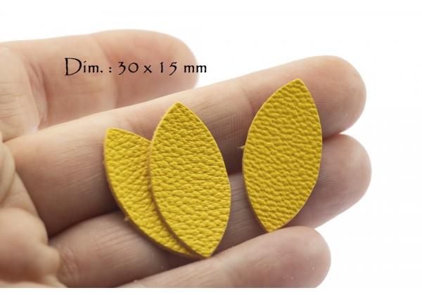 Feuille, Pétale de cuir Jaune Soleil - Dim. 30 x 15 mm - Lot de 6