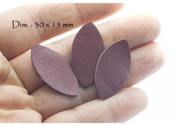 Feuille, Pétale de cuir Lie de Vin - Dim. 30 x 15 mm - Lot de 6