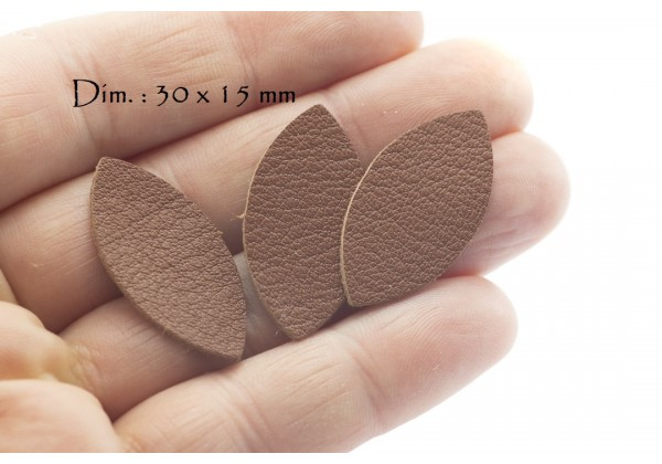 Feuille, Pétale de cuir Marron - Dim. 30 x 15 mm - Lot de 6