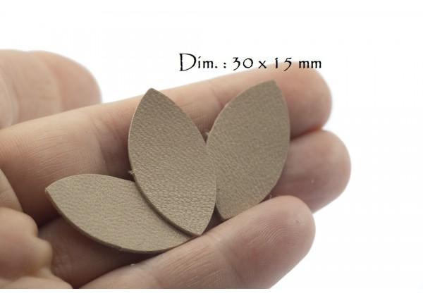 Feuille, Pétale de cuir Nude - Dim. 30 x 15 mm - Lot de 6