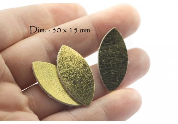Feuille, Pétale de cuir Or Jaune Brillant - Dim. 30 x 15 mm - Lot de 6