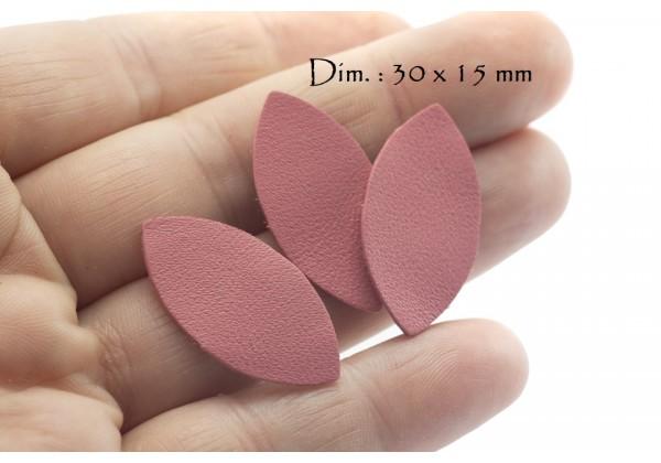 Feuille, Pétale de cuir Rose Pétale - Dim. 30 x 15 mm - Lot de 6