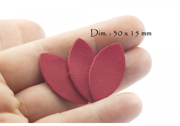 Feuille, Pétale de cuir Rouge Framboise - Dim. 30 x 15 mm - Lot de 6