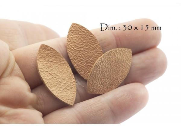 Feuille, Pétale de cuir Saumon Nacré - Dim. 30 x 15 mm - Lot de 6