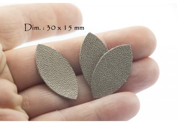 Feuille, Pétale de cuir Taupe Nacré - Dim. 30 x 15 mm - Lot de 6