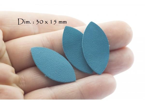 Feuille, Pétale de cuir Bleu Turquoise - Dim. 30 x 15 mm - Lot de 6