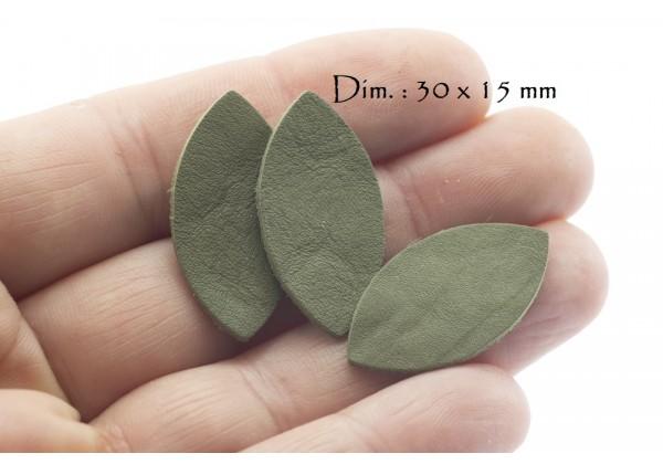 Feuille, Pétale de cuir Vert Kaki - Dim. 30 x 15 mm - Lot de 6