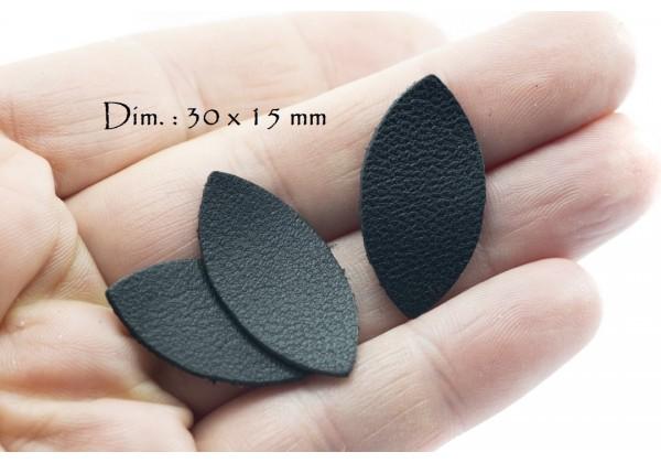 Feuille, Pétale de cuir Noir - Dim. 30 x 15 mm - Lot de 6