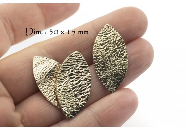 Feuille, Pétale de cuir Or Pâle Froissé - Dim. 30 x 15 mm - Lot de 6