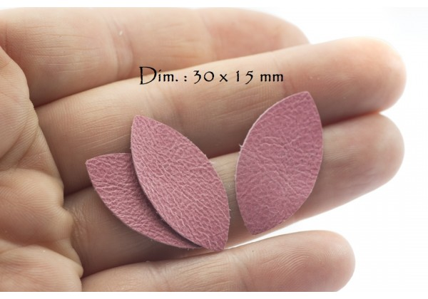 Feuille, Pétale de cuir Rose Bonbon - Dim. 30 x 15 mm - Lot de 6