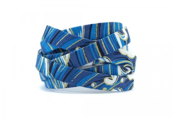 95 cm de Cordon Plat Type Cordon spaghetti en Coton - Larg : ± 10 mm - Motif Fleuri Esprit Japonais Tons Bleu (M2)