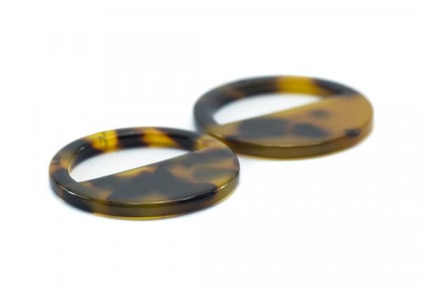 4 Breloques Rondes en Acétate de Cellulose - Diam. : 28 mm - Couleur Marron & Noir