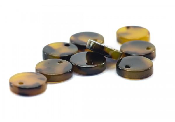 6 Breloques Pampille Ronde en Acétate de Cellulose - Diam. 10 mm - Couleur Marron & Noir