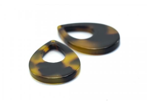4 Breloques Gouttes en Acétate de Cellulose - Dim. : 23 x 17 mm - Couleur Marron & Noir