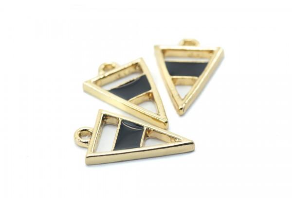 4 Breloques forme Triangle semi émaillé - Dim. : 20 x 13 mm - Couleur Doré et Noir
