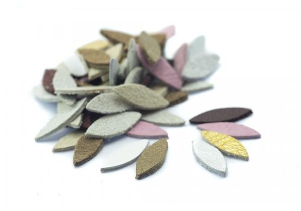 70 Navettes de cuir multicolore - Dim. 15 x 5 mm - Lot de 70 pièces