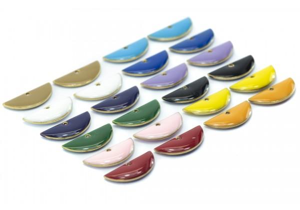 24 Sequins émaillés Demi-lune / Demi-Cercle- Dim. : 18 x 8 mm - Email Double face - Lot Multicolore