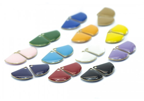 24 Sequins émaillés Eventail - Dim. : 13 x 12 mm - Email Double face - Lot Multicolore