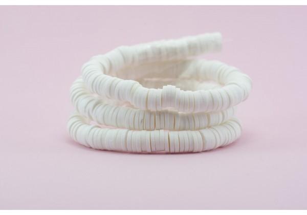 1 Fil de ± 40 cm de perles Heishi en pâte polymère 6 mm - Fil de ± 400 perles - Couleur Blanc