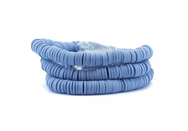 1 Fil de ± 40 cm de perles Heishi en pâte polymère 6 mm - Fil de ± 400 perles - Couleur Bleu Lavande