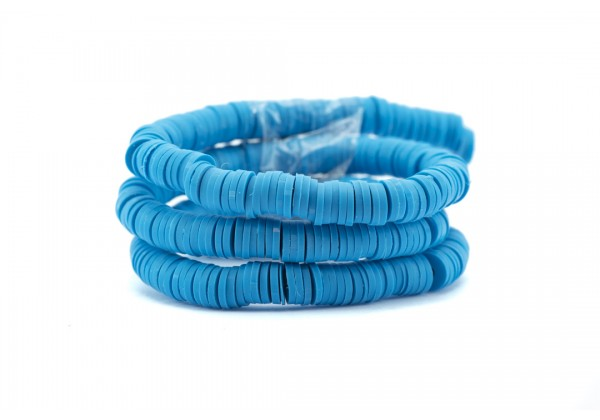 1 Fil de ± 40 cm de perles Heishi en pâte polymère 6 mm - Fil de ± 400 perles - Couleur Bleu Cyan