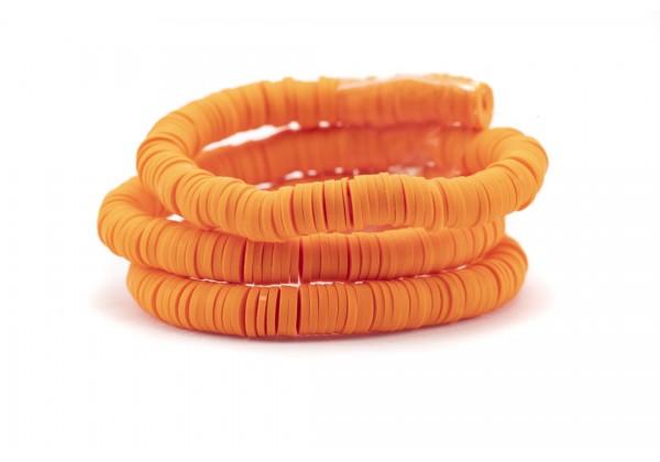 1 Fil de ± 40 cm de perles Heishi en pâte polymère 6 mm - Fil de ± 400 perles - Couleur Orange