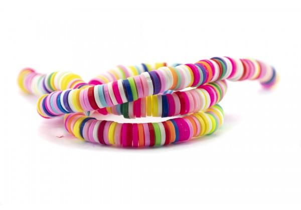 1 Fil de ± 40 cm de perles Heishi en pâte polymère 6 mm - Fil de ± 400 perles - Couleur Multicolore