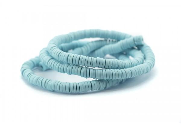 1 Fil de ± 40 cm de perles Heishi en pâte polymère 4 mm - Fil de ± 400 perles - Couleur Bleu Aqua