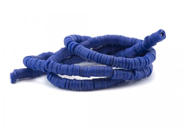 1 Fil de ± 40 cm de perles Heishi en pâte polymère 4 mm - Fil de ± 400 perles - Couleur Bleu Intense