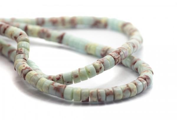 1 Fil de ± 18 cm de perles Heishi en Régalite Synthétique de 4 mm - Fil de ± 70 perles - Couleur Bleu marbré Rose
