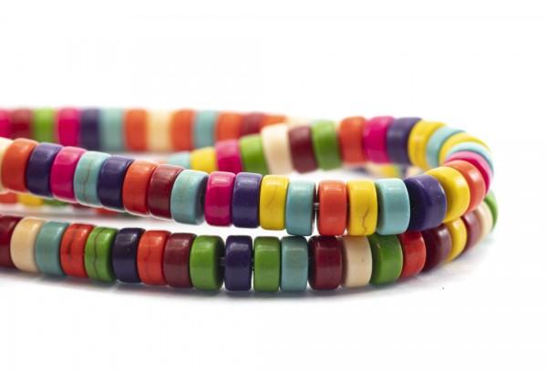 1 Fil de ± 40 cm de perles Heishi en Howlite de 6 mm - Fil de ± 140 perles - Couleur Multicolore