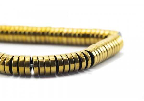 1 Fil de ± 40 cm de perles Heishi en Hématite de 8 mm - Fil de ± 180 perles - Couleur Doré