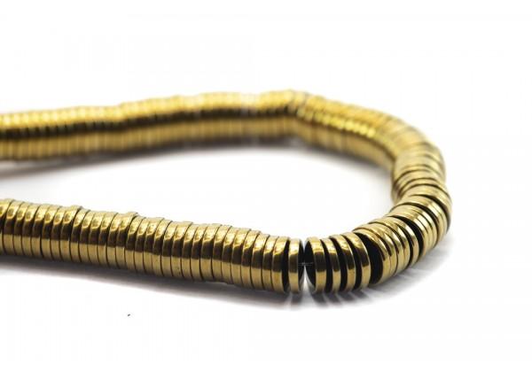 1 Fil de ± 40 cm de perles Heishi en Hématite de 6 mm - Fil de ± 390 perles - Couleur Doré