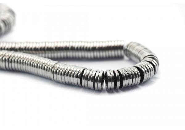 1 Fil de ± 40 cm de perles Heishi en Hématite de 6 mm - Fil de ± 390 perles - Couleur Argent