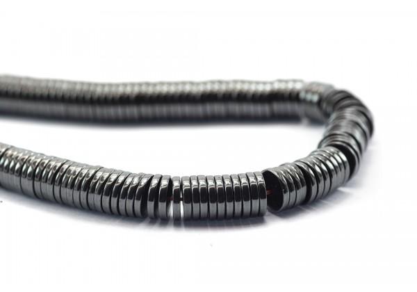 1 Fil de ± 40 cm de perles Heishi en Hématite de 6 mm - Fil de ± 390 perles - Couleur Gun Metal