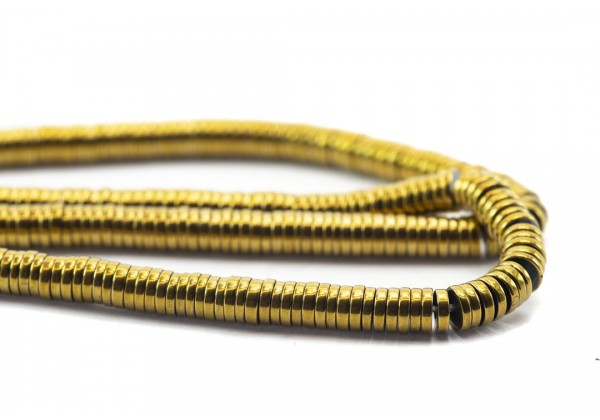 1 Fil de ± 40 cm de perles Heishi en Hématite de 4 mm - Fil de ± 390 perles - Couleur Doré