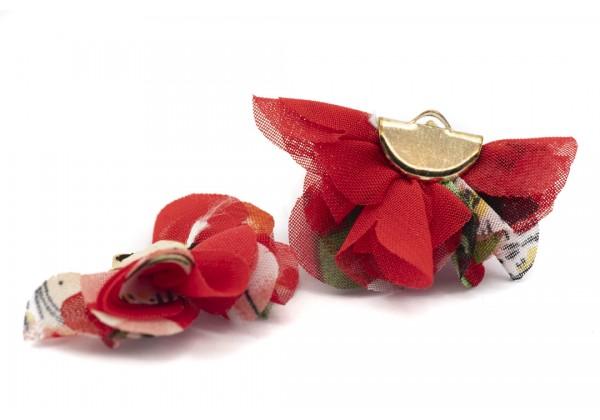 6 Breloques Courbe en tissu - Dim. : 40 x 25 mm - Couleur Rouge