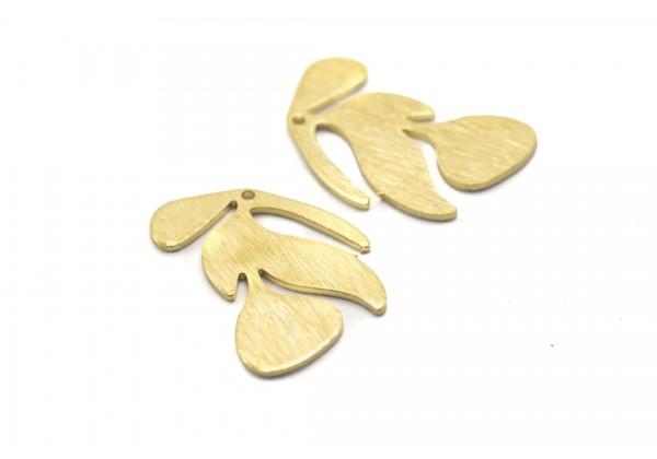 6 Breloques Feuille Tropicale en Laiton Brut Aspect Strié - Dim. : 21 x 15 mm - Couleur Doré
