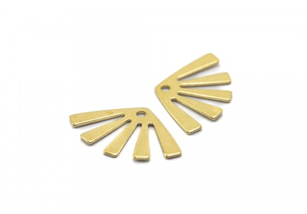 10 Breloques Eventail en Laiton Brut - Dim. : 20 x 12 mm - Couleur Doré