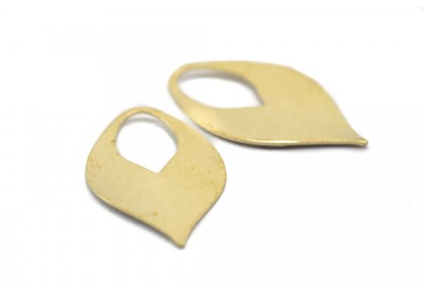 10 Breloques Feuilles stylisées en Laiton Brut - Dim. : 21 x 13 mm - Couleur Doré