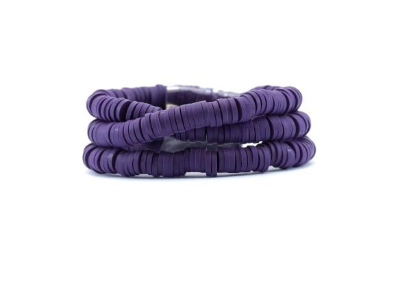 1 Fil de ± 40 cm de perles Heishi en pâte polymère 6 mm - Fil de ± 400 perles - Couleur Violet