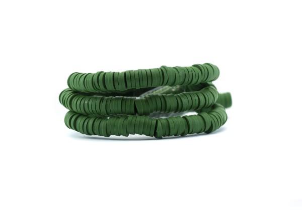 1 Fil de ± 40 cm de perles Heishi en pâte polymère 6 mm - Fil de ± 400 perles - Couleur Vert Feuille