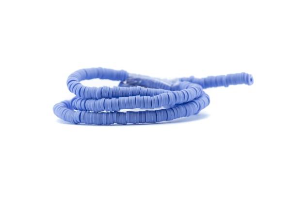 1 Fil de ± 40 cm de perles Heishi en pâte polymère 4 mm - Fil de ± 400 perles - Couleur Bleu Lavande