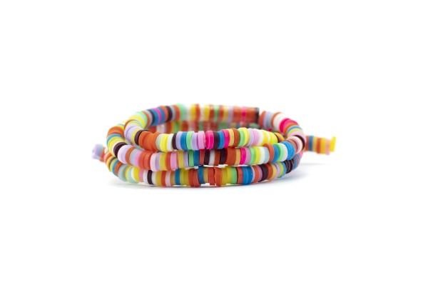 1 Fil de ± 40 cm de perles Heishi en pâte polymère 4 mm - Fil de ± 400 perles - Couleur Multicolore