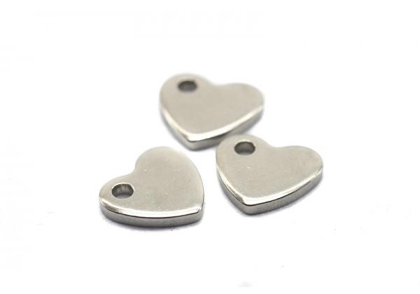 10 Breloques Coeurs en Acier Inoxydable - Dim: 10 x 9 mm - Couleur Argent