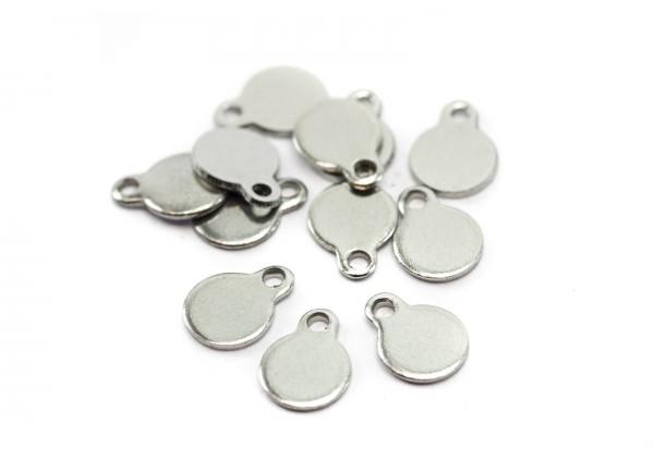 10 Pendentifs Sequins Ronds avec boucle en Acier Inoxydable - Diam. 5 mm - Couleur Argent